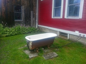 The hot tub -- could take a real bath outside, although none of us did