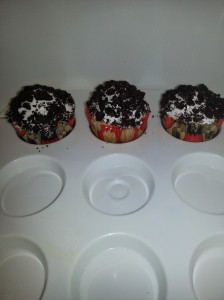 Vanilla cupcakes with vanilla icing and crushed Oreos -- special request
