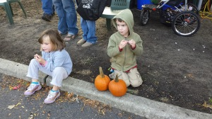 This was our first trip to the farmer's market all season. The kids got free pumpkins.